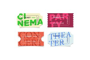 Cinema, theater, party ticket set