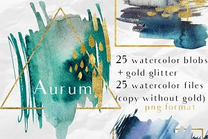 Aurum-25 watercolor splash & glitter