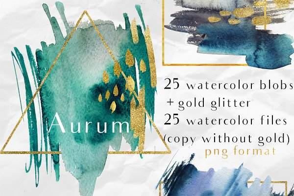 Aurum-25 watercolor splash & glitte…