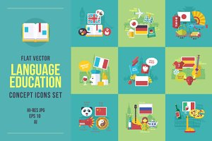 Flat foreign languages icons set