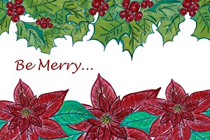 Watercolor Poinsettia and Holly duo