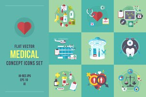 Flat medical concept icons set