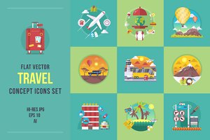Flat travel concept icons set