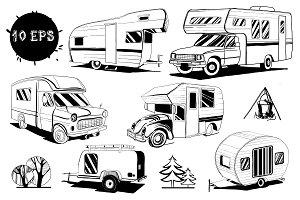 Set Doodle vintage Camper cars