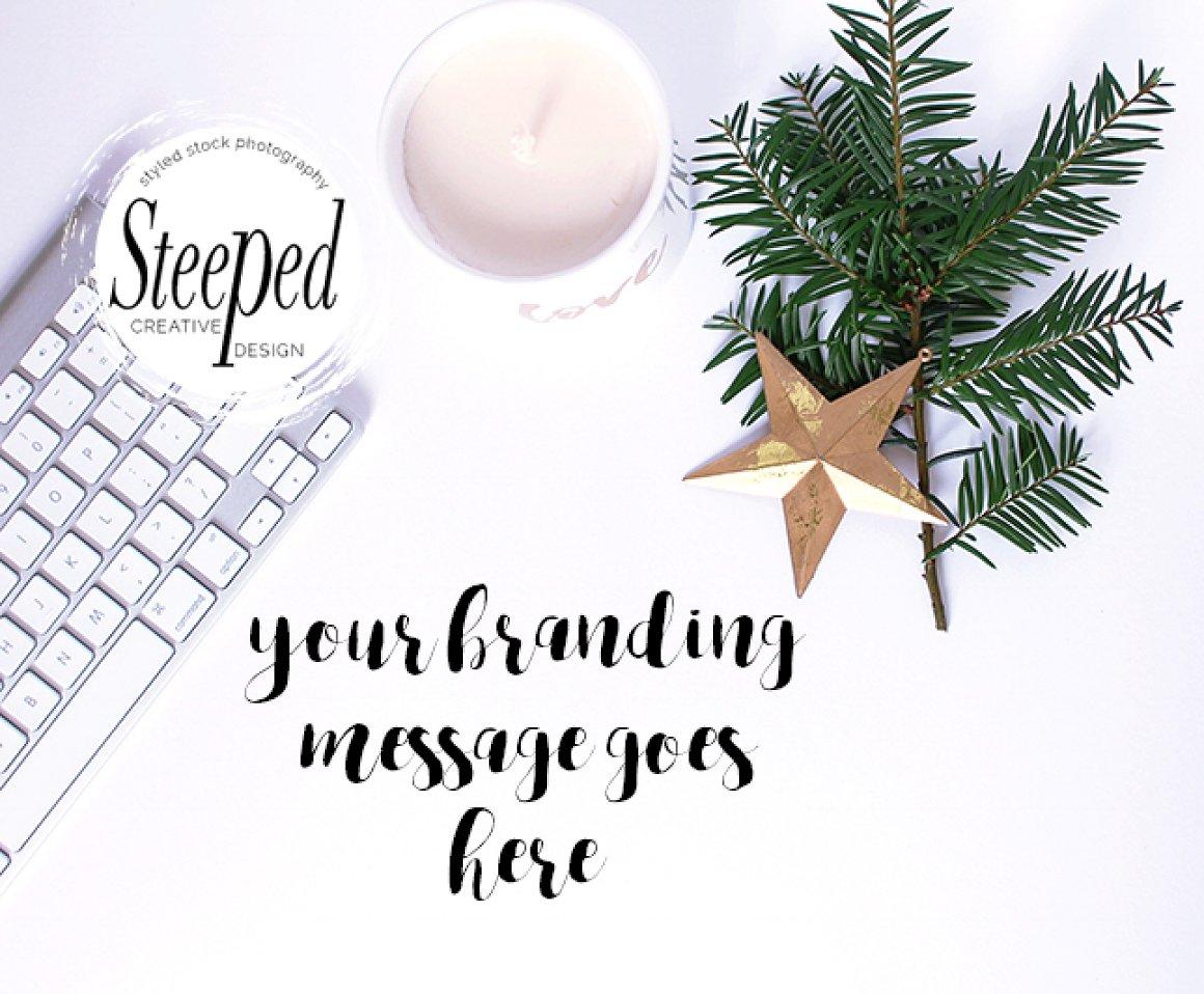 Festive desktop: keyboard, gold star