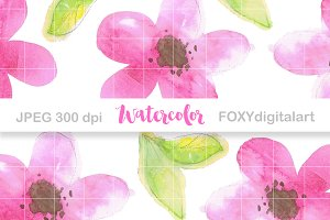 Floral Watercolor Digital Paper Set