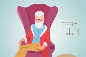 Hipster Santa sitting in a chair