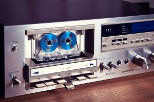 Vintage stereo cassette tape deck