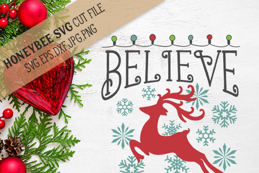 Believe Christmas Svg Eps Dxf Jpg Pre Designed Illustrator Graphics Creative Market
