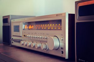Vintage stereo cassette deck amp