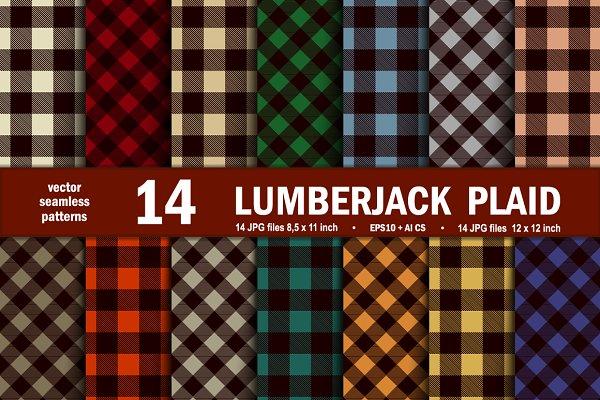 Lumberjack Tartan Seamless Patterns