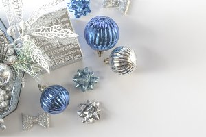 Blue holiday decorations