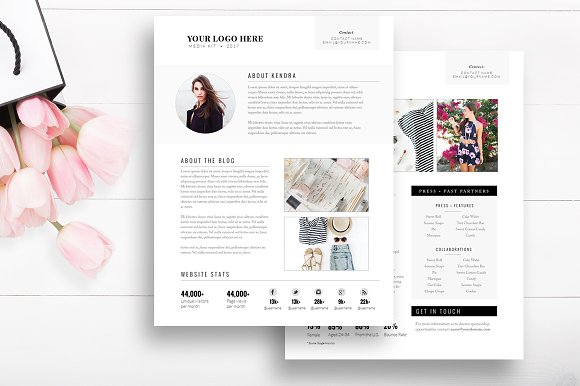 media kit template 2 page stationery templates creative market