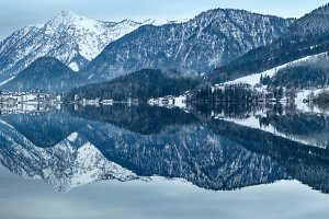 Alpine winter lake, Austria.