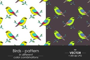 Birds - seamless patterns set