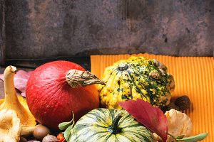 Pumpkins, nuts and mushrooms