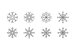 Set of line icons snowflakes