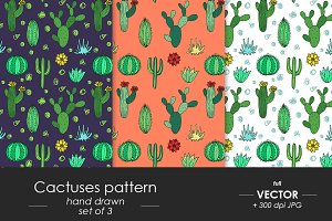 Cactuses - vector patterns set