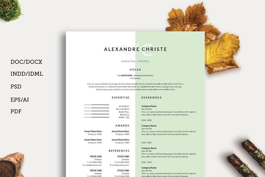 Resume CV Cover Letter Templates Creative Market