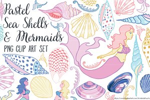 Sea Shells & Mermaids Clipart PNG
