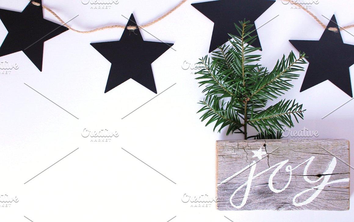 Black Stars, greenery, lettered sign