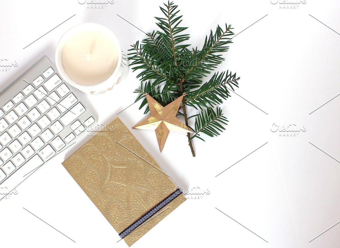 candle, gold, greenery, keyboard