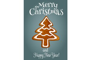 Gingerbread tree holiday poster
