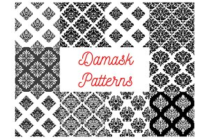 Stylized floral damask patterns