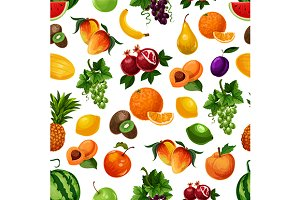 Vector pattern of fresh fruits