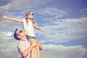 Happy father and daughter.
