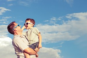 Happy father and son.