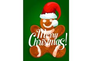 Gingerbread man in santa hat