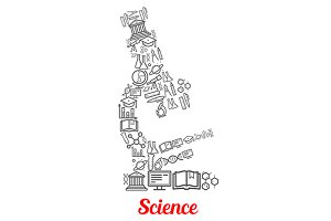 Microscope with science icons