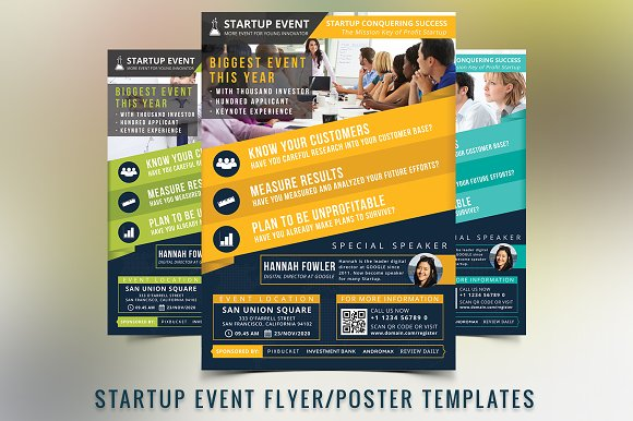 Startup Event Flyer Template Flyer Templates Creative Market - Event brochure template