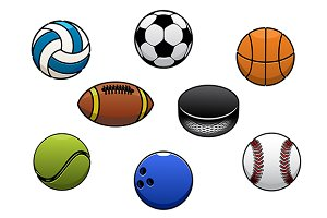 Sport balls vector isolated icons