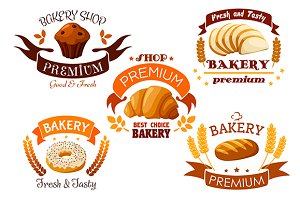 Bakery, pastry and patisserie icons