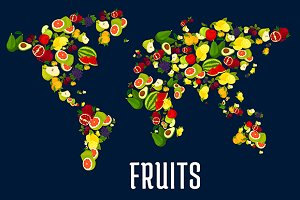 Map of world fruits continents
