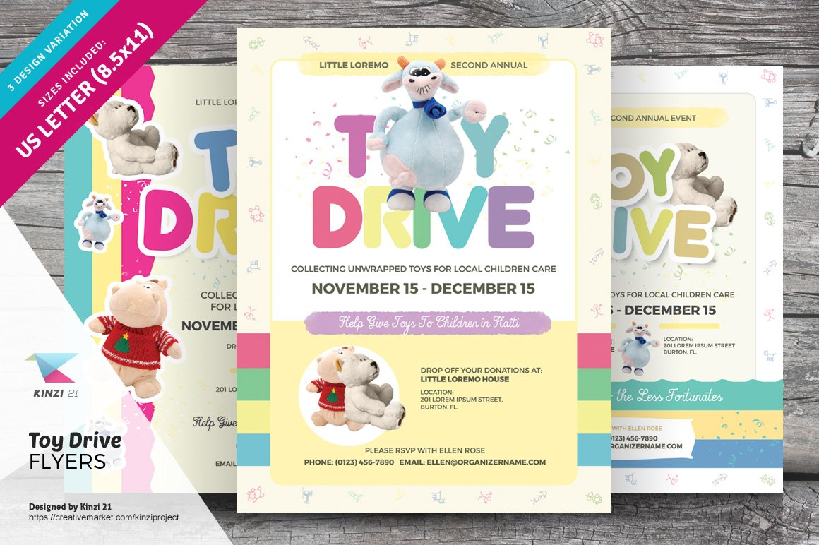 Toy Drive Flyer Templates Flyer Templates Creative Market – Food Drive Flyer Samples