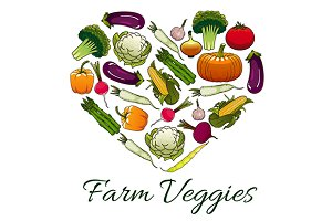 Farm veggies heart