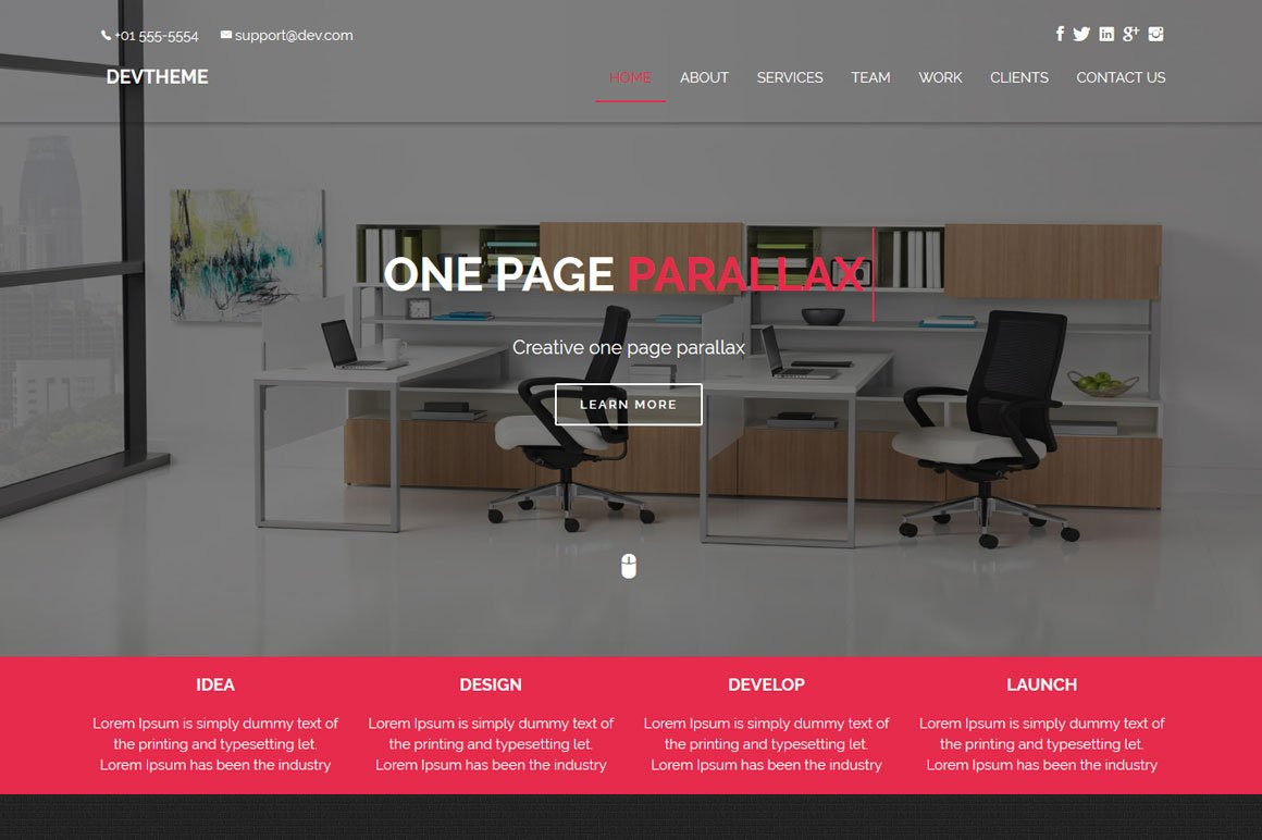 Devtheme One Page Parallax Bootstrap Themes Creative Market