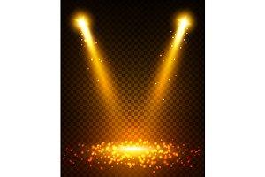 Gold spot light beams