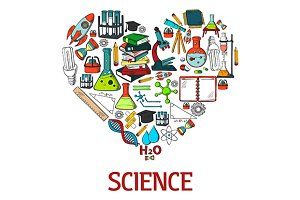 Heart with science, education icons