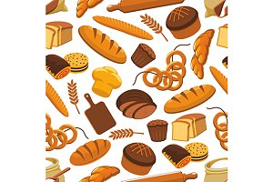 Vector pattern of bread and bakery