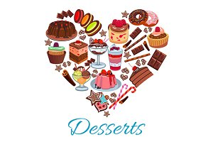 Sweet heart shape with desserts