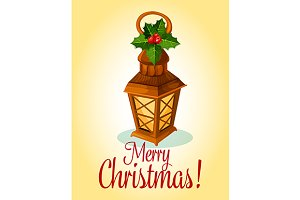 Holiday wooden lantern