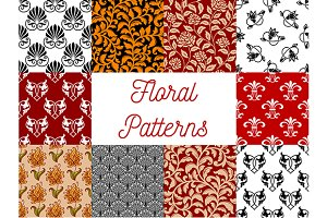 Floral ornate seamless patterns