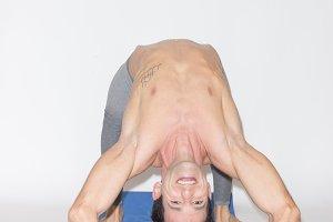 flexible man stretching bridge