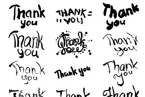 Hand drawn thank you lettering set