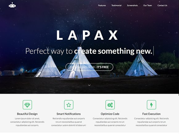 Lapax One Page App Landing Page