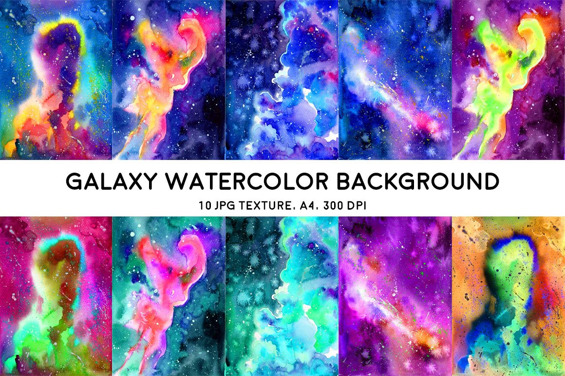 galaxy watercolor background illustrations creative market